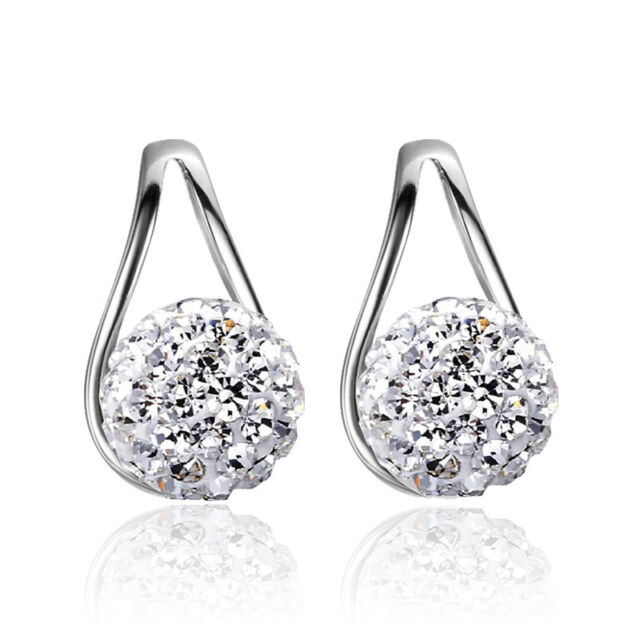 Fashion Womens 925 Sterling Silver Crystal Ball Ruyi Ear Stud Earrings Jewelry