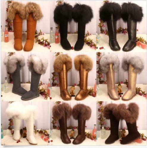 Winter Womens Over the Knee High    Snow Boots Tall Fox fur Fur Lined Suede Lining fed832