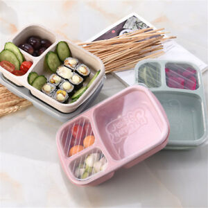 cdc1416877f5 Details about 3 Compartment Wheat Straw Picnic Microwavable Meal Storage  Lunch Box