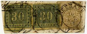 MiNr-21-waagerechtes-Paar-mit-NDP-5Gr-auf-Briefstueck-sign-Brettl-KR0058052