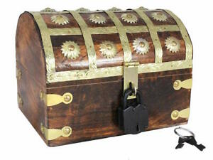 Pirate-Treasure-Chest-Nautical-With-Iron-Lock-Skeleton-Cove-Key-8-x-6-x-6