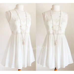 NEW-White-Ivory-Cream-Lotus-Floral-Babydoll-Embroidered-Sleeveless-Shift-Dress