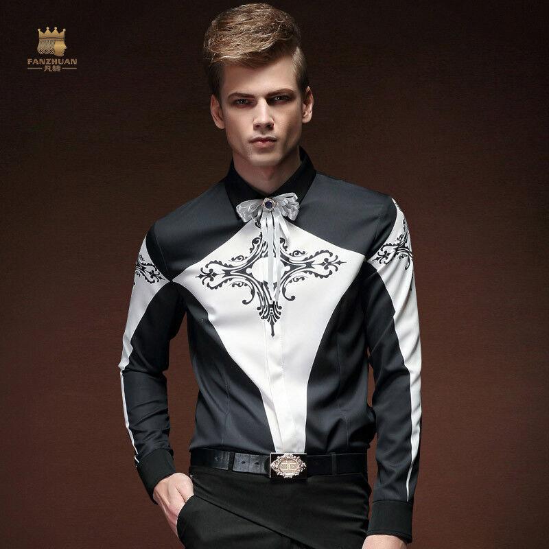 Fashion Clothing Men's Shirt Design Geometric Contrast color Floral Dress Shirt