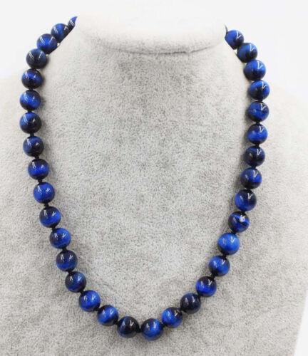 "10 Mm Naturel Blue Tiger/'s Eye Gemstone Round Beads Necklace 18//25//36//54/"""