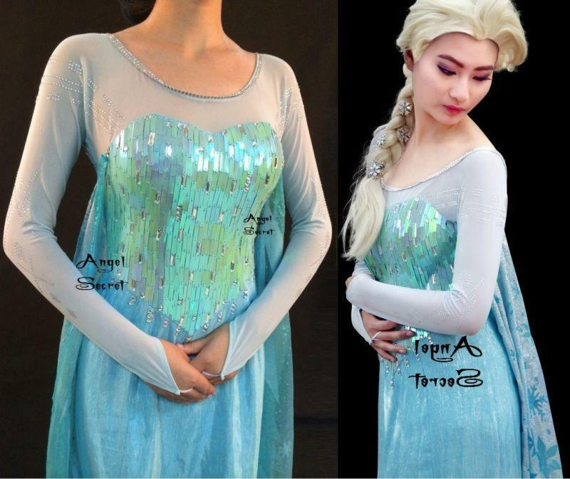 FJ889 Frozen Snow Queen Elsa Cosplay Costume iridescent bodice with long cape
