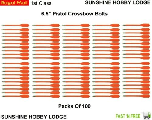 Archery Pistol Crossbow Bolts Steel Tips Nylon Shafts Pack Of 100 Orange New UK