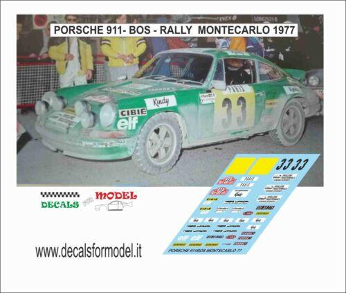 DECALS 1//43 PORSCHE 911 BOS RALLY MONTECARLO 1977