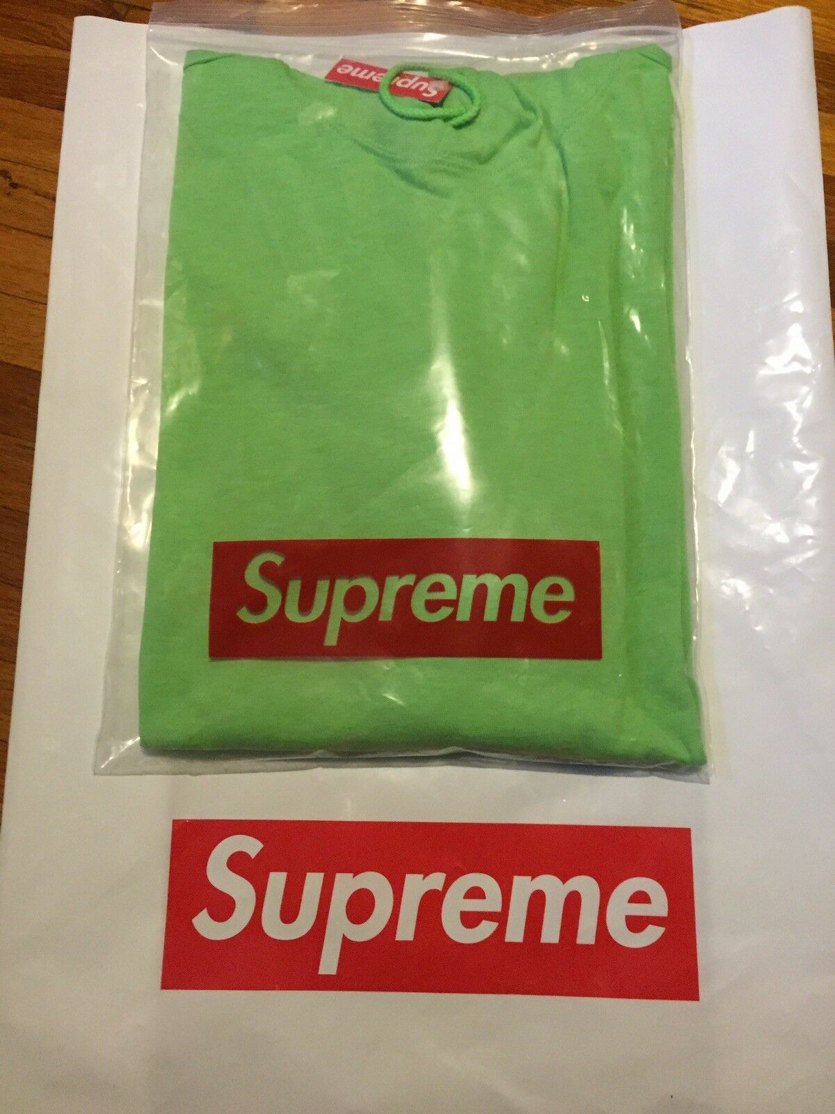 Supreme Hood Stripe LS Top Lime Grün sz XL SS16