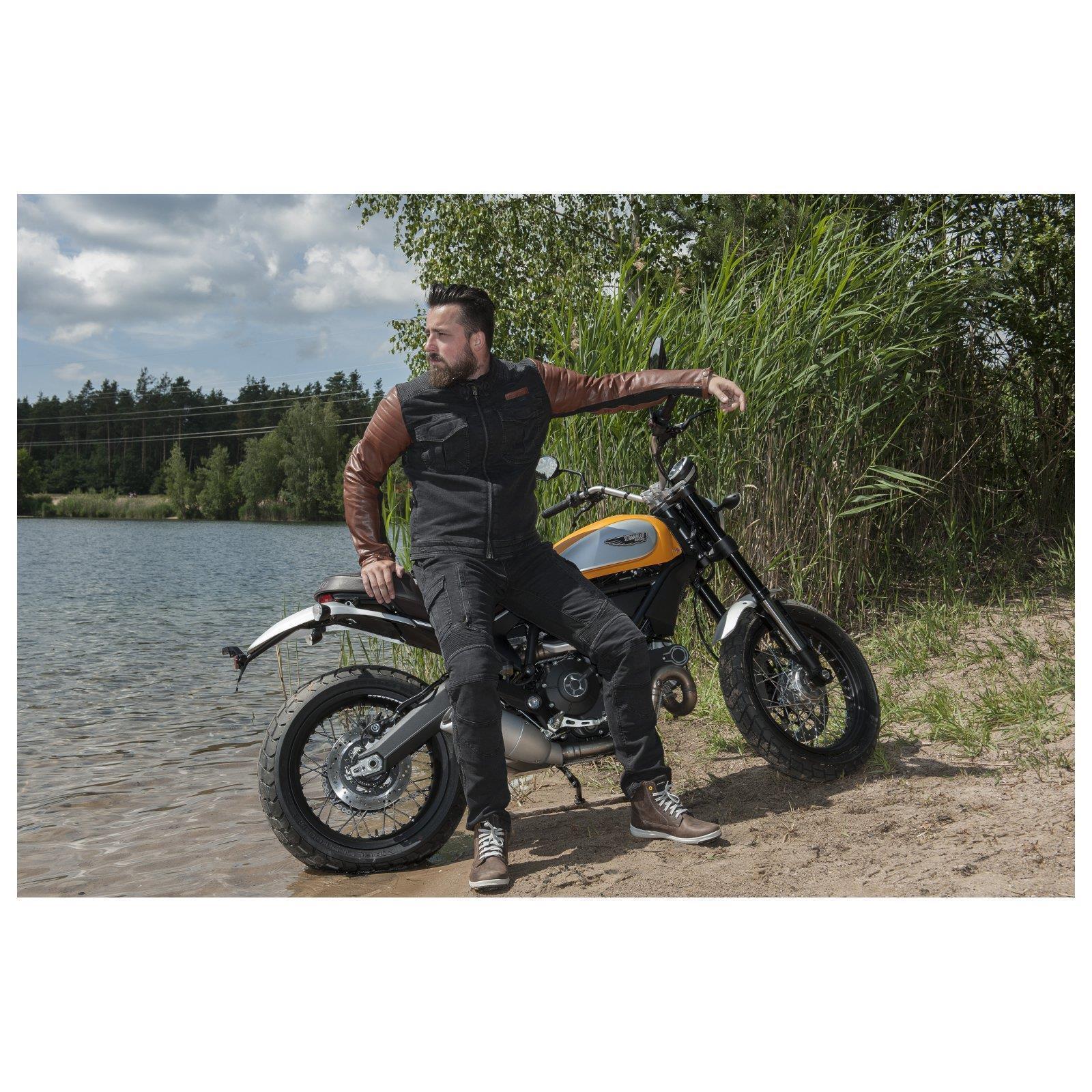 Trilobite Acid interferenzaNverso UOMO JEANS DA MOTO MOTO MOTO NERO PROTEZIONI pantaloni aramide 20aa01