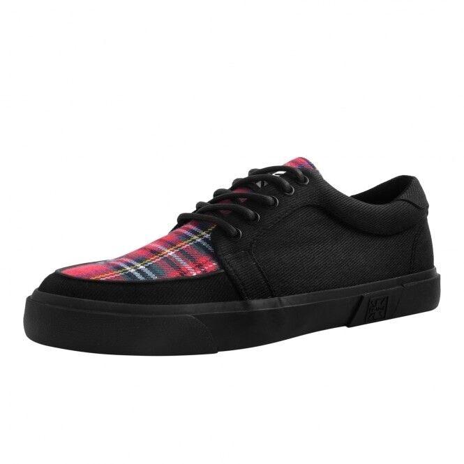 T.U.K. A9300 Vegan Men Shoes Black Tartan Canvas Gum Creeper Sneaker Skater