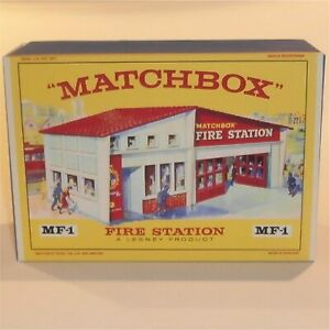 Matchbox-Lesney-Accessory-MF-1-Fire-Station-Red-Roof-empty-box-repro