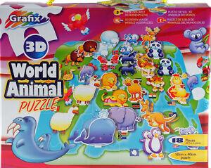 Grafix-gli-animali-del-mondo-3D-per-bambini-Puzzle-18-PEZZI