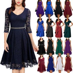 Women Party Dress Elegant Evening Cocktail Solid Midi Swing Dresses Plus Size US