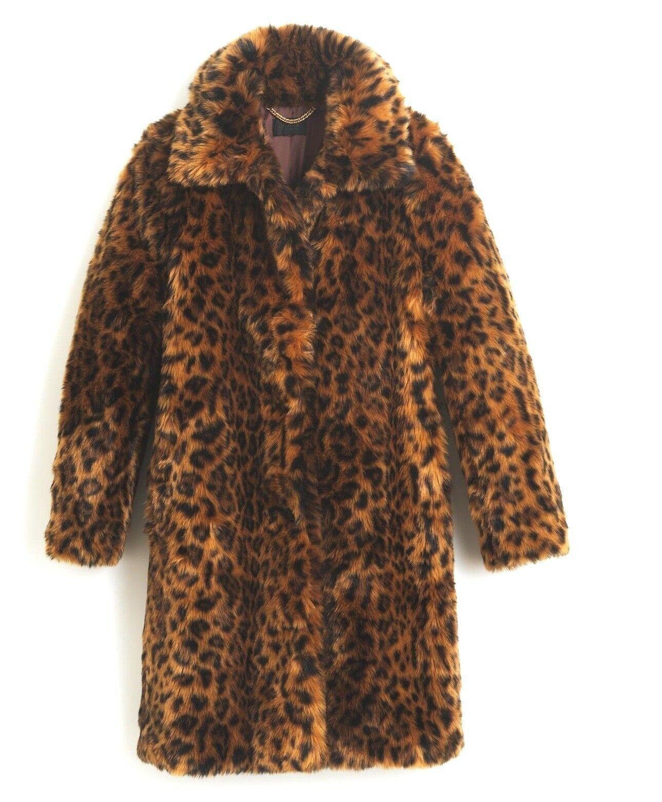 J.Crew Collection Faux-Fur Leopard Print Coat XS,S,M, L, XL,XXL,2X G9553  298