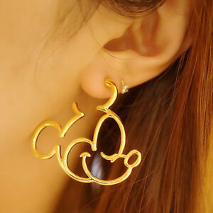 Image Is Loading Mickey Mouse Gold Silver Cartoon Statement Hoop Earrings
