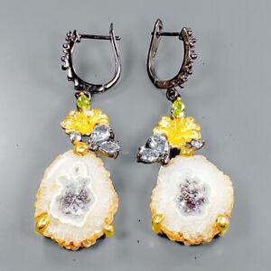 Handmade-SET-Natural-Druzy-Quatz-925-Sterling-Silver-Earrings-E31668