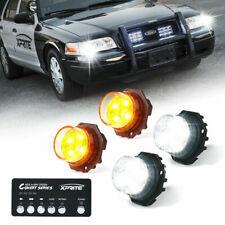 Xprite 4pcs White Amber Led Hideaway Strobe Lights Kit 20 Flash Patterns Trucks
