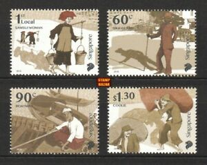 Singapore-2018-Early-Trades-Sikh-Guard-Boatman-Coolie-Boat-stamp-set-4v-MNH