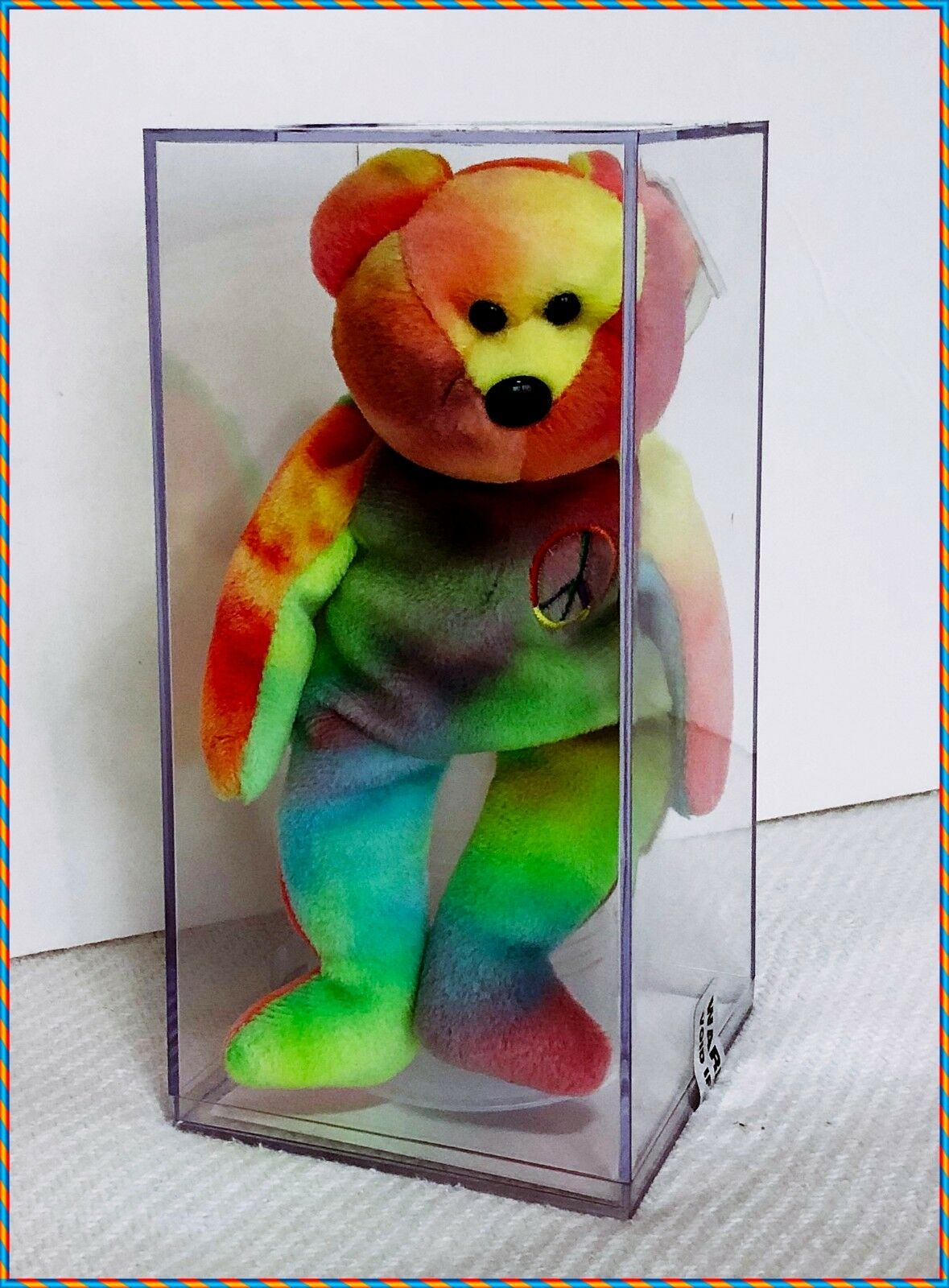 AUTHENTICATED Rare Retired PEACE Beanie Baby Bear With 2 COAs   Low Production