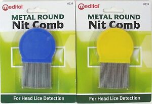 MEDITAL-METAL-ROUND-NIT-COMB-WITH-HANDLE-REMOVES-HEAD-LICE-amp-EGGS