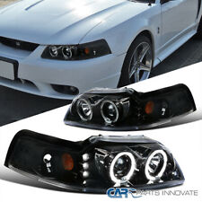Ford 99 04 Mustang Pearl Black Dual Halo Led Clear Projector Headlights Lamps Fits Mustang