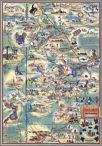 1940 pictorial map Black Hills of South Dakota The Sunshine State ...
