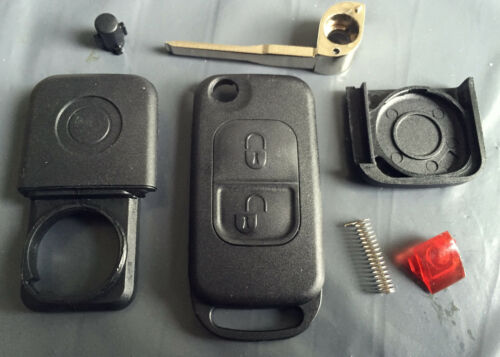 For Mercedes A C E S Class 2 Button IR Remote Flip Key Case Shell /& Blade HU64