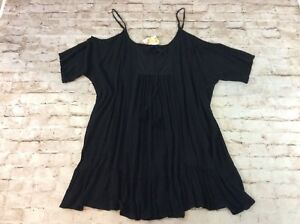 a10f4f1d6c Raviya Swimsuit Cover Up 1x Cold Shoulder Peasant Dress Black Plus ...
