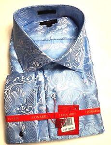 Mens Leonardi French cuff dressy fancy shirt club elegant PAISLEY RED COLOR 303