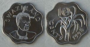 Swaziland 10 Cents 1998 P49 Unz. Africa Amicable Swasiland Other African Coins
