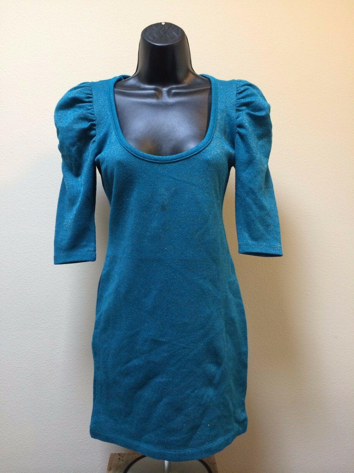 THE HELLERS SZ XS UK38 Designer Bodycon Teal shortsleeve Mini Dress stretchy
