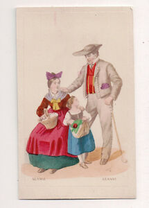Vintage-CDV-Handpainted-Family-Alsace-France-Traditional-National-Costume