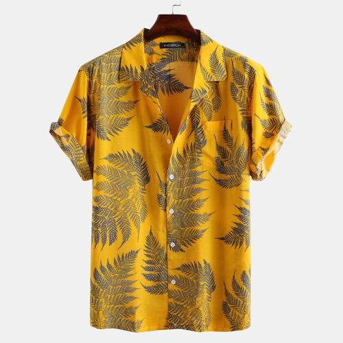 Mens Short Sleeve Cotton Printed Shirts Casual Tops Hawaiian Beach Tee Blouse