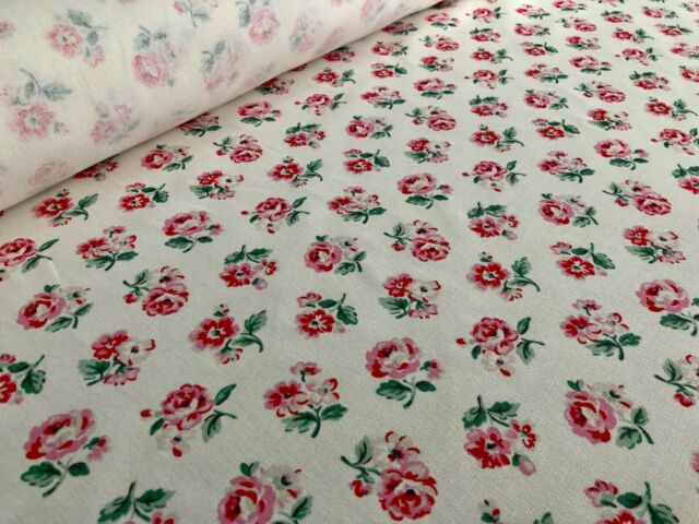 8 Cath Kidston Fabric Material 25 X 25cms White Rose /& Pink Spot Quilting Sewing