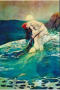 Howard Pyle Print Nude Man Fisherman Woman Seductive Mermaid Sunset Sea Nymph