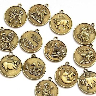 12Pcs Copper Coated Lucky 12 Animals Tibet Buddhist Bodhisattva Beads Finding