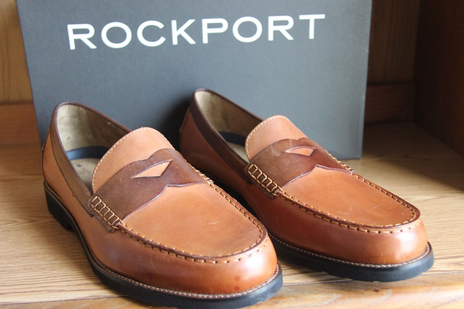 8d7dcfc452b Rockport Classic Move Penny Loafers Shoes Tan Cognac Men Size 12 ...