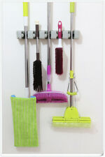 1 set of Mop And Broom Holder Wall Mounted With 2 Hooks Hanger Storage Rack