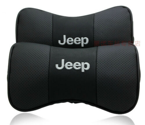 Pair of Leather Headrest Cushion Car Seat Pillows Neck Personalized for JEEP