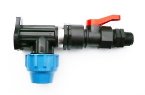 MDPE-Wall-Plate-Elbow-20mm-with-In-Line-On-Off-Ball-Valve-amp-BSPM-1-2-034-Thread