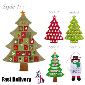 Countdown To Christmas.Details About Christmas Tree Advent Calendar Countdown Xmas Gift Fabric Pocket Wall Home Decor