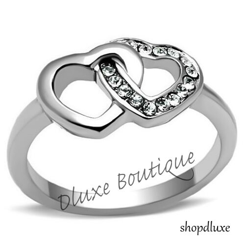 WOMEN/'S GIRLS AAA CZ STAINLESS STEEL FOREVER DOUBLE HEART PROMISE RING SIZE 5-10