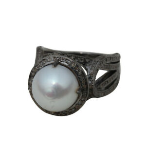 Pearl-Gemstone-Dome-Ring-Natural-Diamond-Prong-Setting-Sterling-Silver-Jewelry