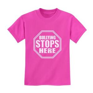f30e3508747 Details about Stop Sign - Bullying Stops Here Pink Day Shirt Print Kids T- Shirt Anti-Bullying