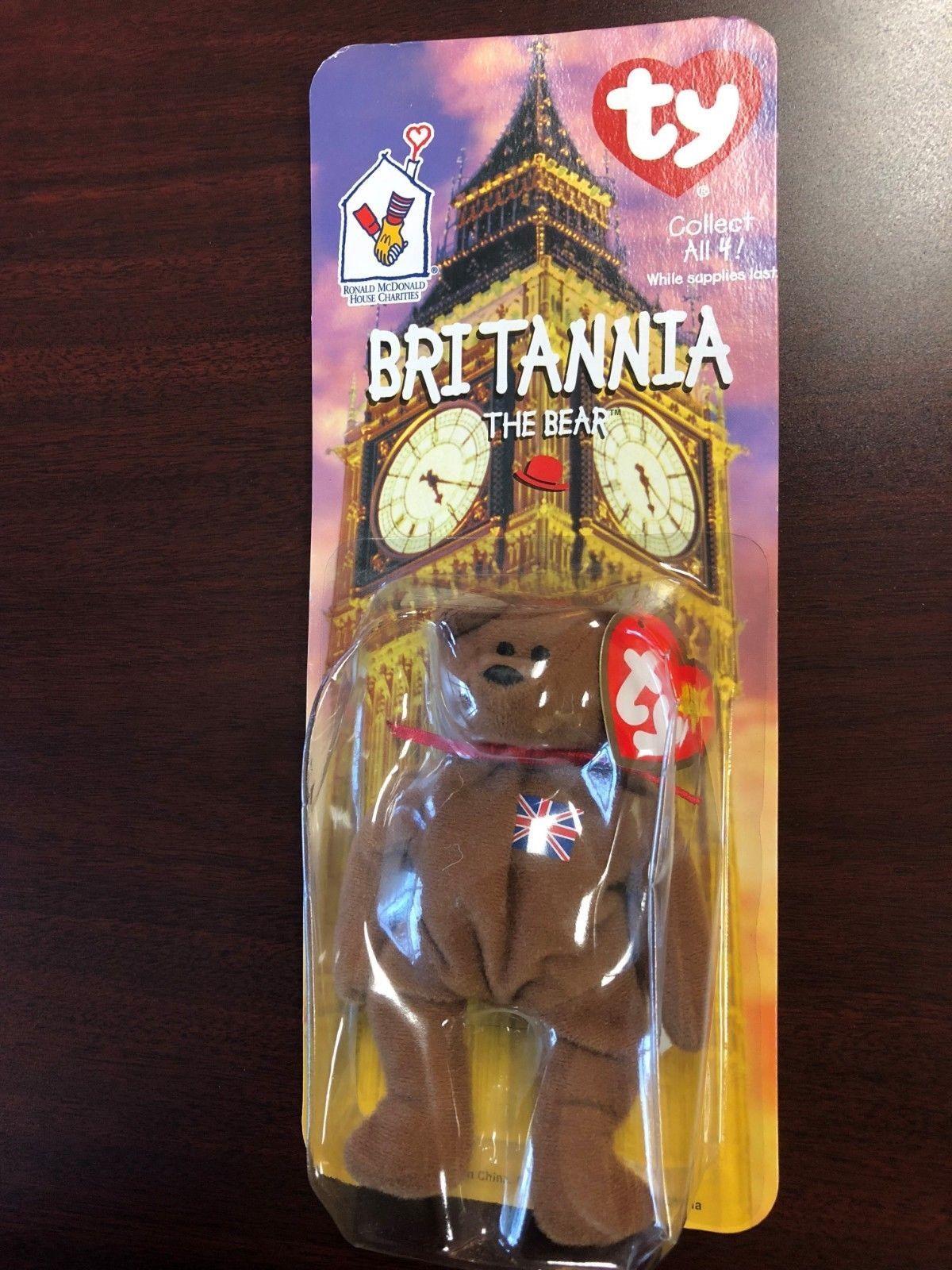 Original - teenie beanie baby britannia den bär mit fehlern (rentner) (selten))