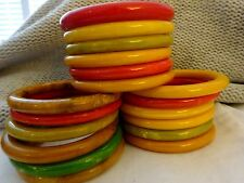 VTG LOT of 18 Stack of all TUBE SHAPED BAKELITE BANGLE Bracelets Mix of Colors