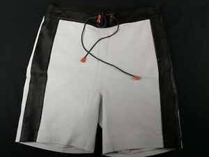 GENUINE-LEATHER-Men-039-s-Black-and-White-Casual-Shorts-w-Draw-String-30-034-Waist