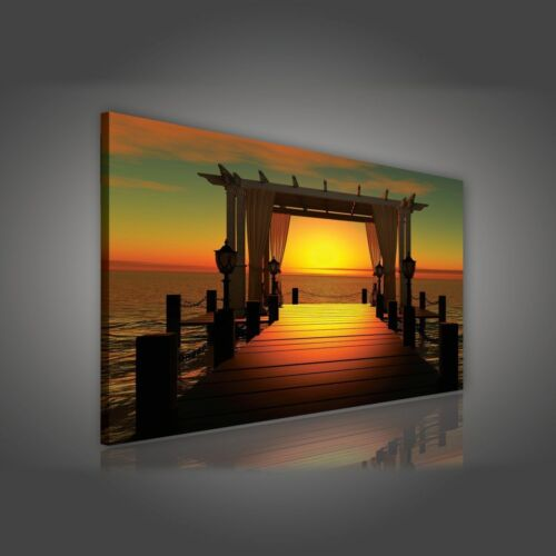 Toile la fresque image toile meeressteg coucher de soleil mer nature 14n189o1