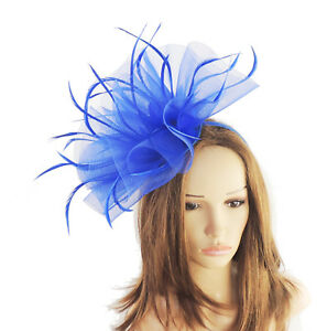 Royal Blue Fascinator Hat For Weddings Ascot Proms With Headband ... ab2f7c56f983