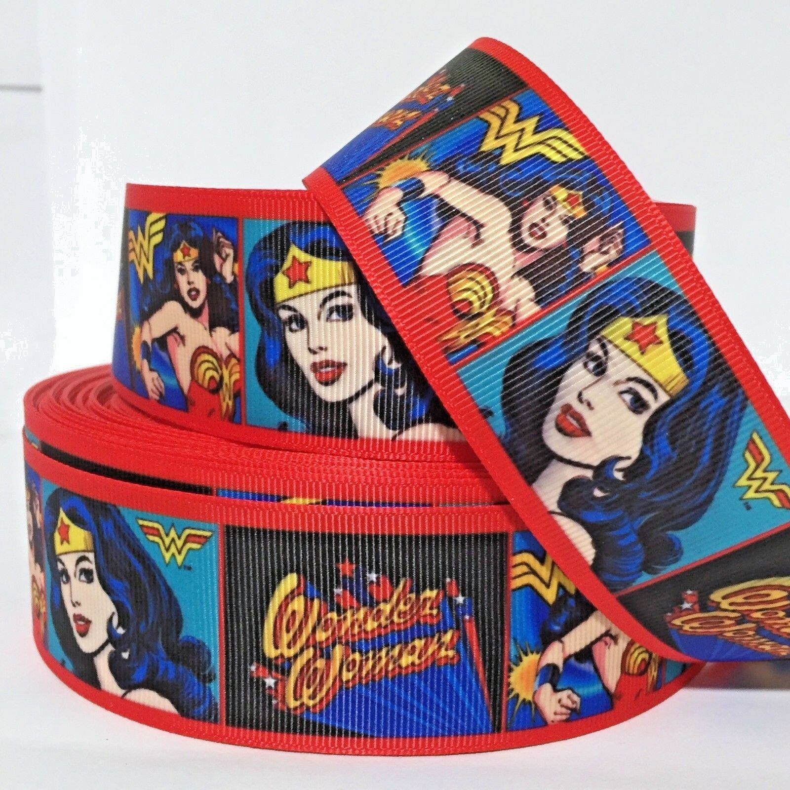 "GROSGRAIN WONDER WOMAN PINK 1/"" INCH RIBBON FOR HAIR BOWS DIY CRAFTS"